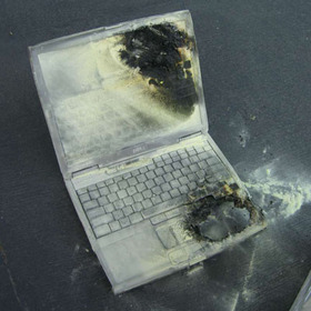 Dell laptop goes up in smoke
