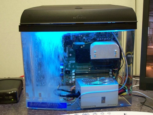 Mineral oil submerged computer